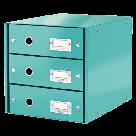 Suport documente cu 3 sertare turcoaz, LEITZ Click & Store