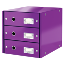 Suport documente cu 3 sertare mov, LEITZ Click & Store