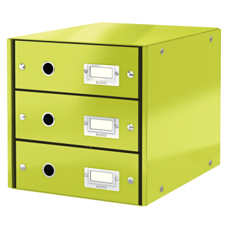 Suport documente cu 3 sertare verde, LEITZ Click & Store