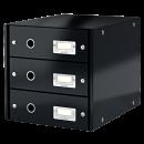 Suport documente cu 3 sertare negru, LEITZ Click&Store