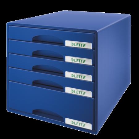Suport documente cu 5 sertare albastru, LEITZ Plus