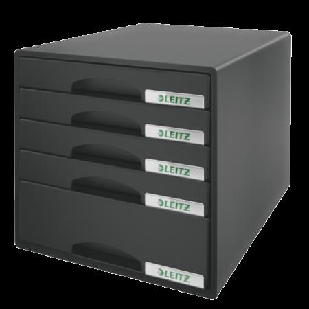 Suport documente cu 5 sertare negru, LEITZ Plus
