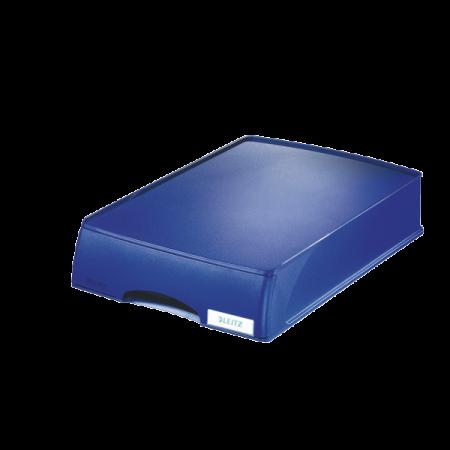 Tavita documente plastic cu sertar albastra, LEITZ Plus