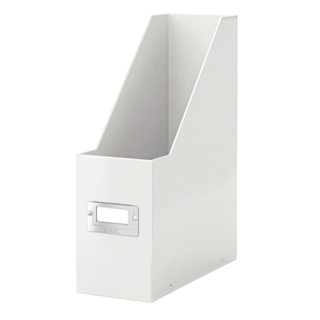 Suport vertical documente plastic alb metalizat, LEITZ WoW Click&Store