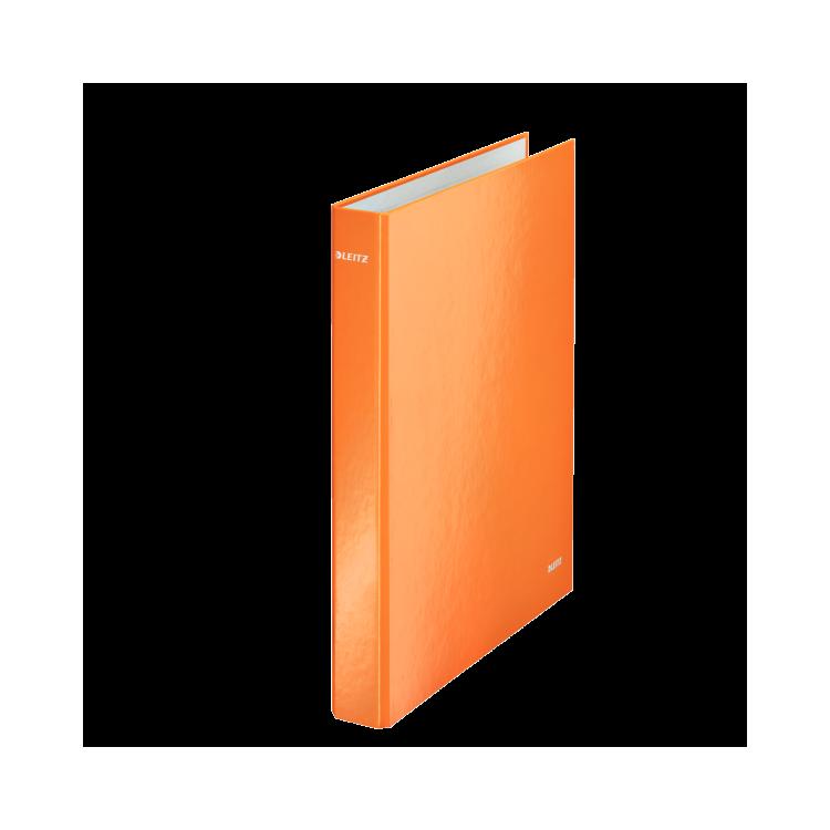 Caiet mecanic A4 4 inele portocaliu metalizat LEITZ WoW