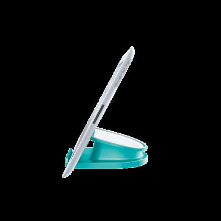 Suport rotativ pentru iPad/tableta PC, iPhone/smartphone turcoaz metalizat, LEITZ WoW Complete