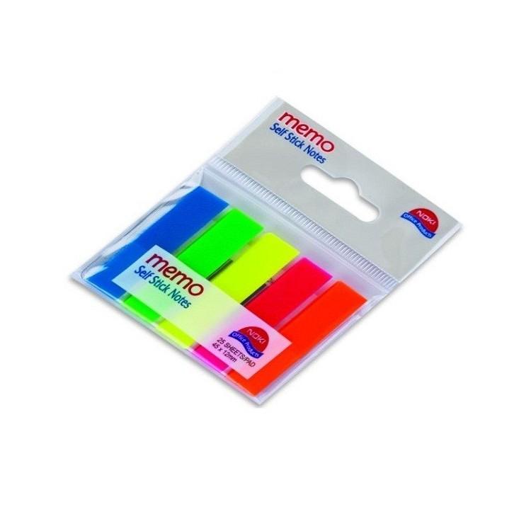 Index adeziv plastic 12x45mm 25 file x 5 culori, NOKI