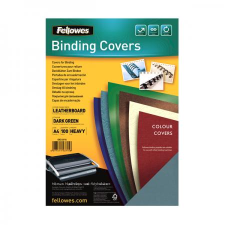 Coperta indosariere carton imitatie piele verde inchis 250g/mp A4 100 buc/top, FELLOWES