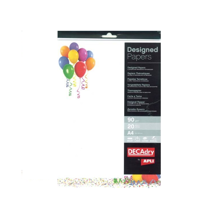 Hartie A4 90g/mp cu model balon 20 coli/set, DECADRY