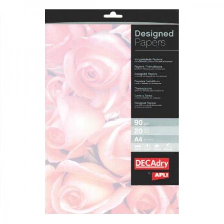 Hartie A4 90g/mp cu model trandafiri 20 coli/set, DECADRY