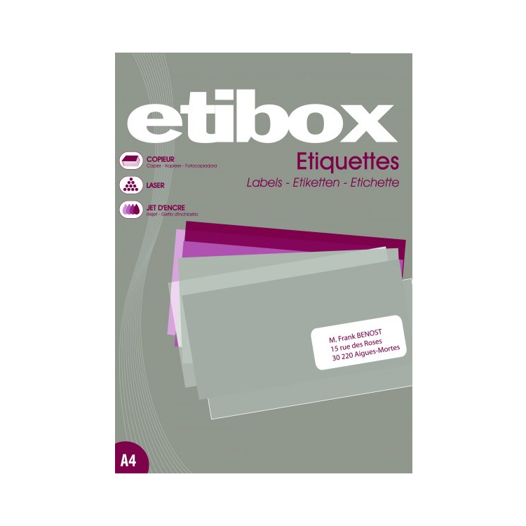 Etichete adezive 1/A4 210x297mm 100 coli/top, ETIBOX