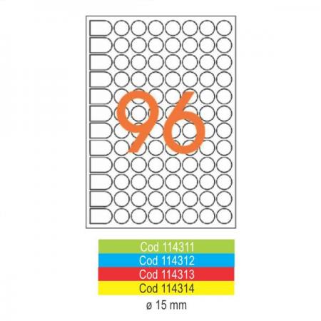 Etichete adezive rotunde 96/A5 15mm rosii 10 coli/set, AGIPA
