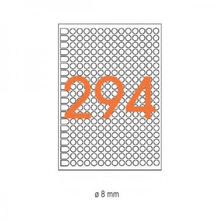 Etichete adezive rotunde 294/A5 8mm diverse culori 6 coli/set, AGIPA