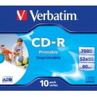 CD-R 700Mb 52x jewelcase, VERBATIM Wide Printable