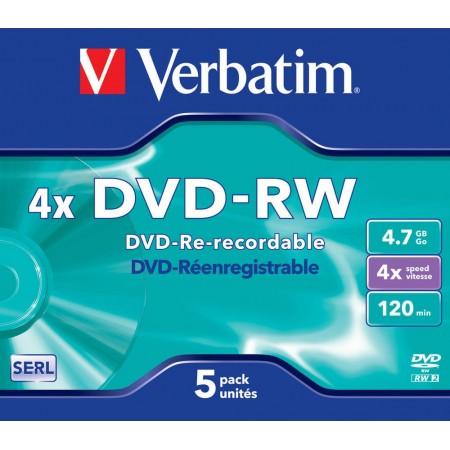 DVD-RW 4.7Gb 4x jewelcase, VERBATIM Matt Silver