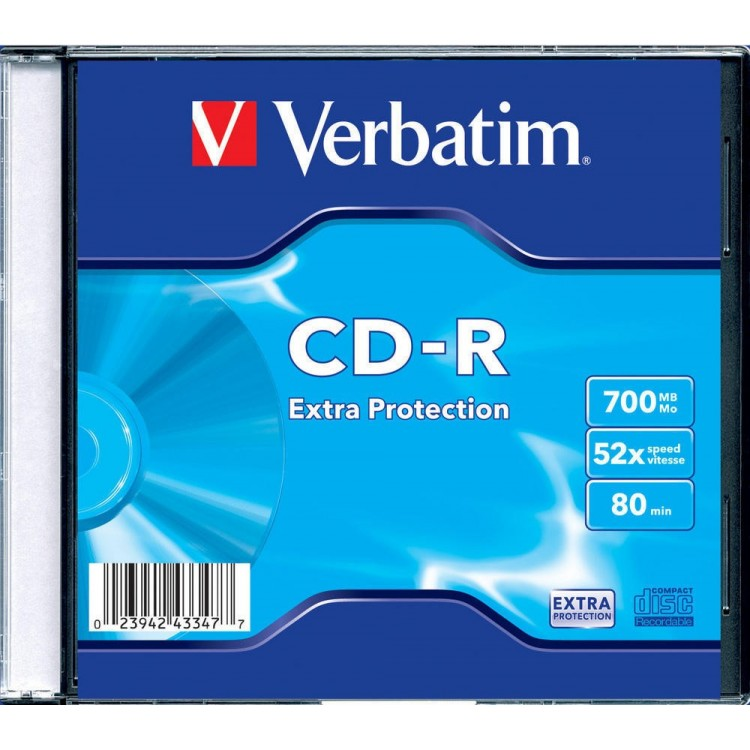 CD-R 700Mb 52x slimcase, VERBATIM Extra Protection