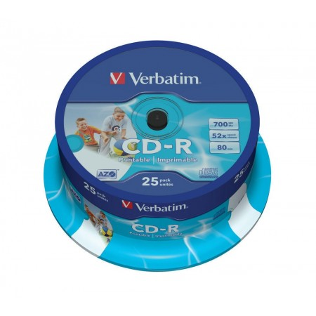 CD-R 700Mb 52x 25 buc/cut, VERBATIM Wide Printable