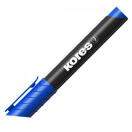 Marker permanent albastru varf rotund, KORES