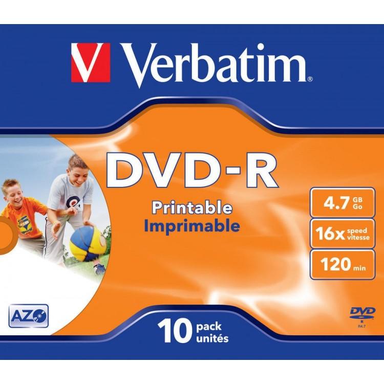 DVD-R 4.7Gb 16x jewelcase, VERBATIM Wide Printable