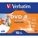 DVD-R 4.7Gb 16x jewelcase, VERBATIM Wide Printable