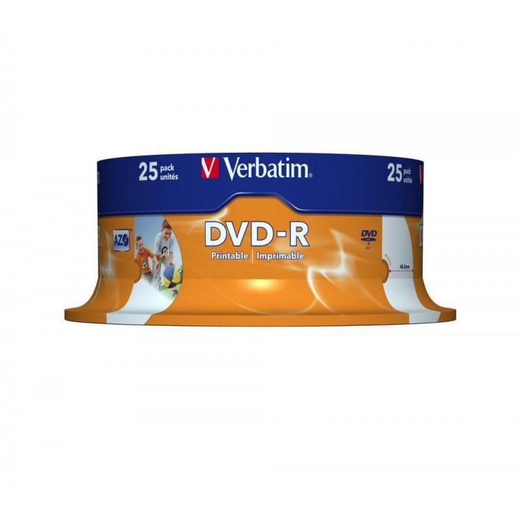 DVD-R 4.7Gb 16x 25 buc/cut, VERBATIM Wide Printable