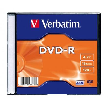 DVD-R 4.7Gb 16x slimcase, VERBATIM Matt Silver