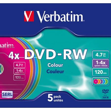 DVD-RW 4.7Gb 4x slimcase 5 buc/cut, VERBATIM Color