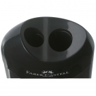 Ascutitoare plastic dubla cu container neagra, FABER-CASTELL