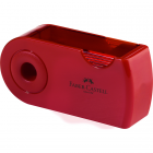 Ascutitoare plastic dubla cu container rosie/albastra, FABER-CASTELL Sleeve