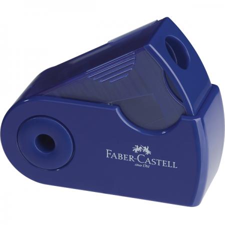 Ascutitoare plastic simpla cu container rosie/albastra, FABER-CASTELL Sleeve-Mini