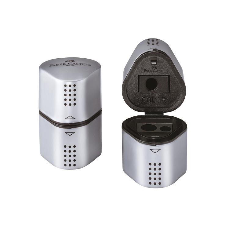 Ascutitoare tripla cu container gri, FABER-CASTELL Grip 2001